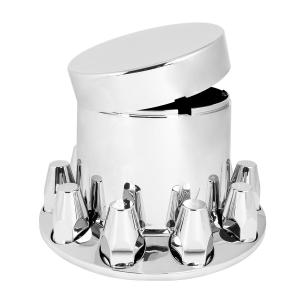 Flat Top Chrome ABS Rear Axle Cover Set with Locking Tabs & Standard Hub Cap