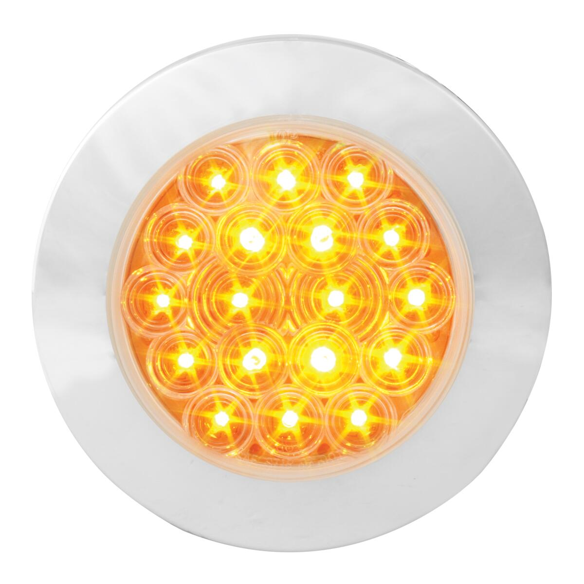 "75901 Amber/Clear 4"" Fleet Flange Mount LED Light with Chrome Twist & Lock Bezel"