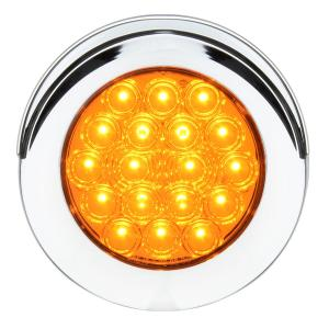 4″ Fleet Flange Mount LED Light with Chrome Twist & Lock Bezel with Visor 3 Pin