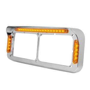 LED Dual Rectangular Headlight Bezel with Visor