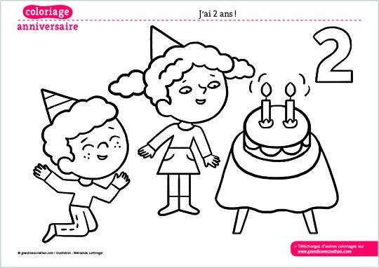 coloriage anniversaire 2 ans fetes d