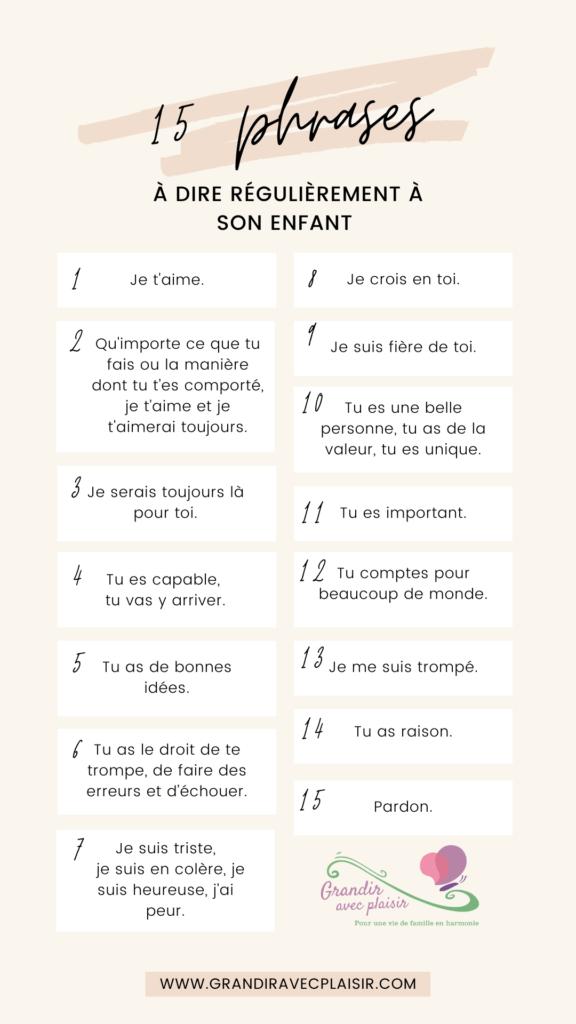 les 15 phrases à dire régulièrement à son enfant.