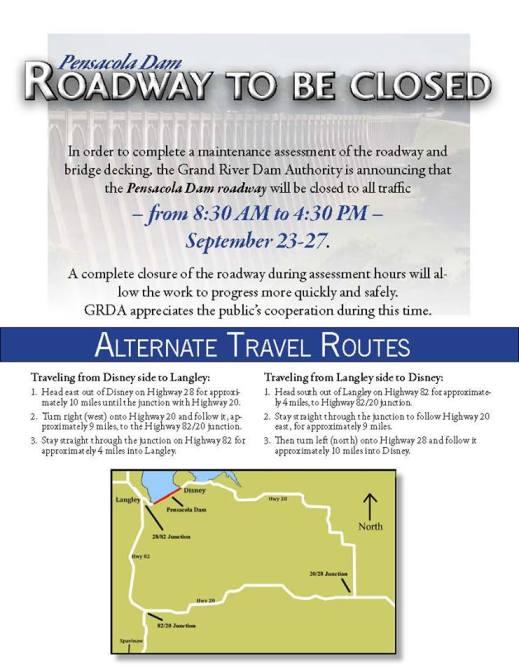 Pensacola Dam Roadway Closed