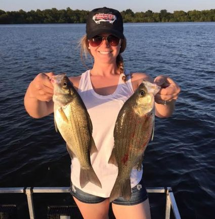 White bass fishing summer 2015 in Oklahoma