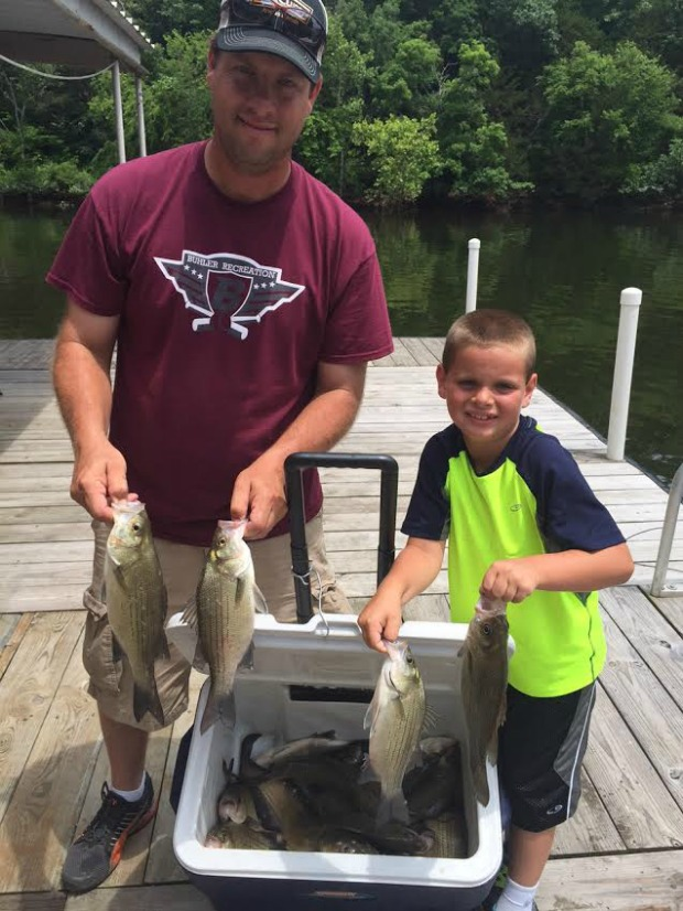 father son white bass fishing at Grand Lake OK