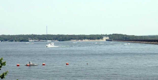 Boats on Grand Lake Labor Day Weekend