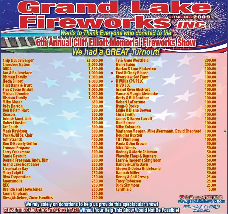 2017 Grand Lake Fireworks Thank You