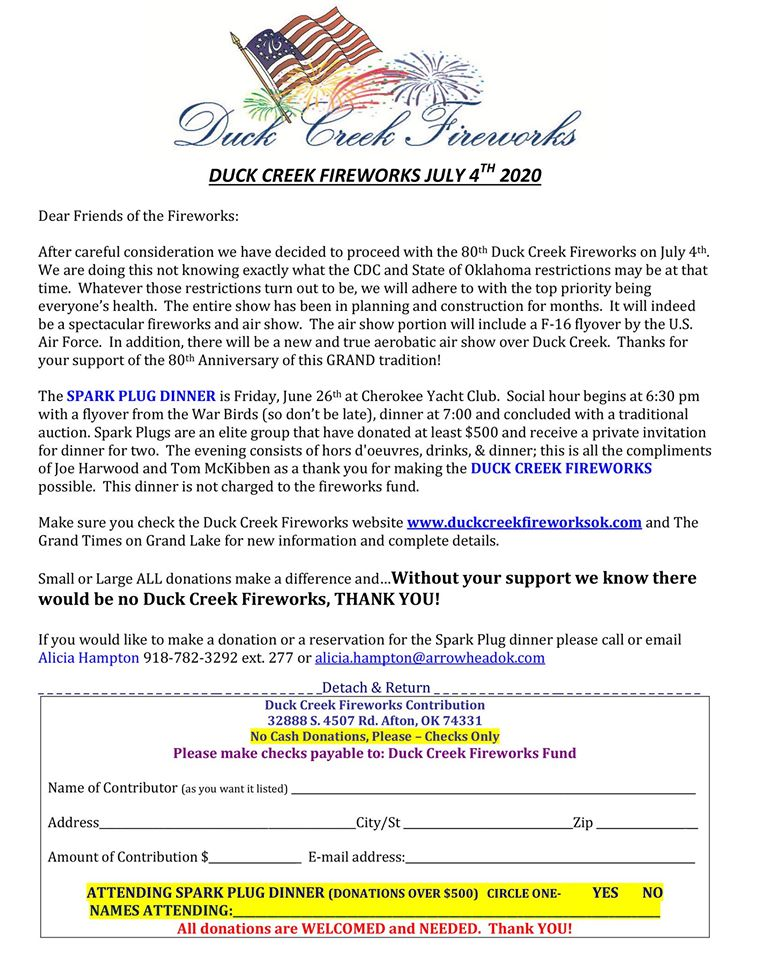 Duck Creek Fireworks Contribution Form