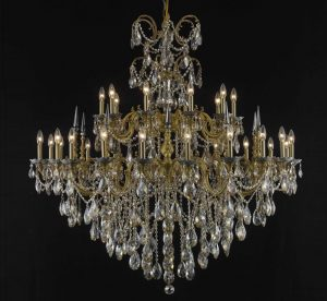 Athena Collection 30 Light Extra Large Brass Crystal Chandelier