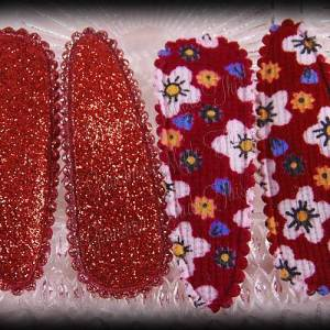 50mm Snap Clippies Floral Red Glitter Red Pairs