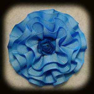 Baby Blues Frilly Flower Hair Bows