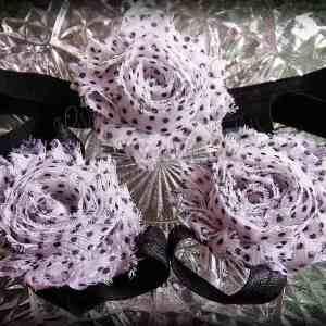 Barefoot Sandals Matching Headband Black White Polka Dot Shabby Chic