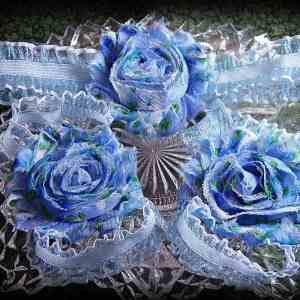 Barefoot Sandals Matching Headband Blue Floral Shabby Chic