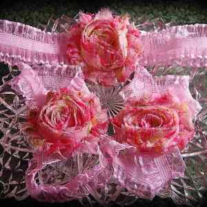 Barefoot Sandals Matching Headband Pink Floral Shabby Chic