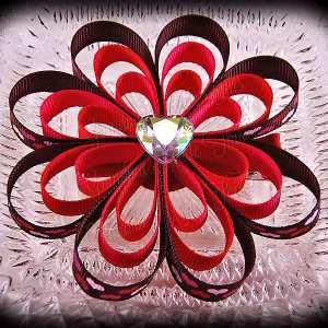 Brown Petite Heart Ribbon Sculpture Flower Bow