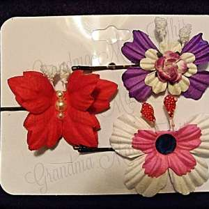 Mulberry Paper Butterfly Bobby Pin Set 1