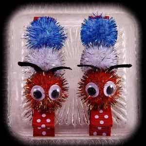 Caterpillar Hair Clip Pair Polka Dot Red