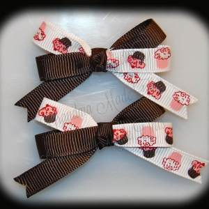 Petite Quad Barrette Hairbow Set Cupcakes Brown