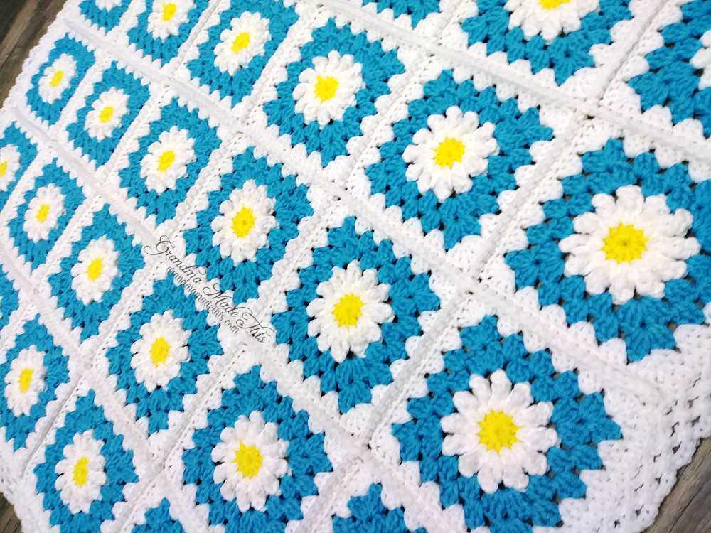 Daisies Aqua Teal Blanket 6 W