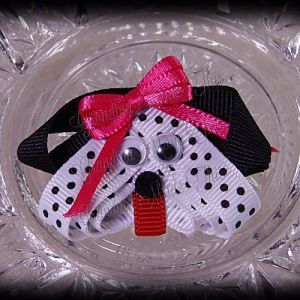 Dalmatian Puppy Ribbon Sculpture Hot Pink Bow