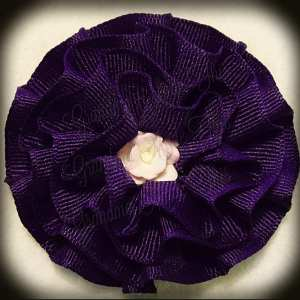 Purples Frilly Flower Hair Bows