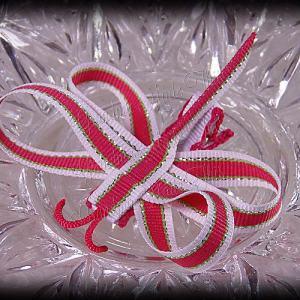 Dragonfly Ribbon Sculpture Pink Green Glitter Stitch