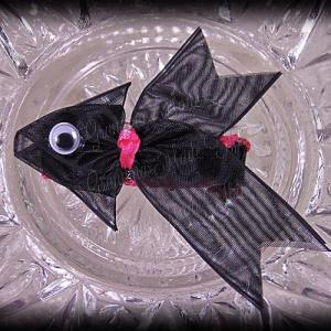 Black Fancy Tails Fish Ribbon Sculpture Hair Clip