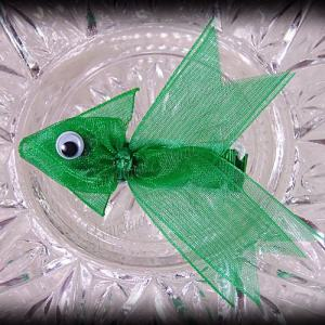 Green Fancy Tails Fish Ribbon Sculpture Hair Clip