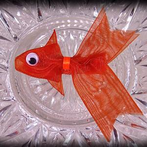 Orange Fancy Tails Fish Ribbon Sculpture Hair Clip