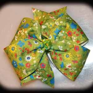 Floral Flower Large Quad Pinwheel Hair Bows