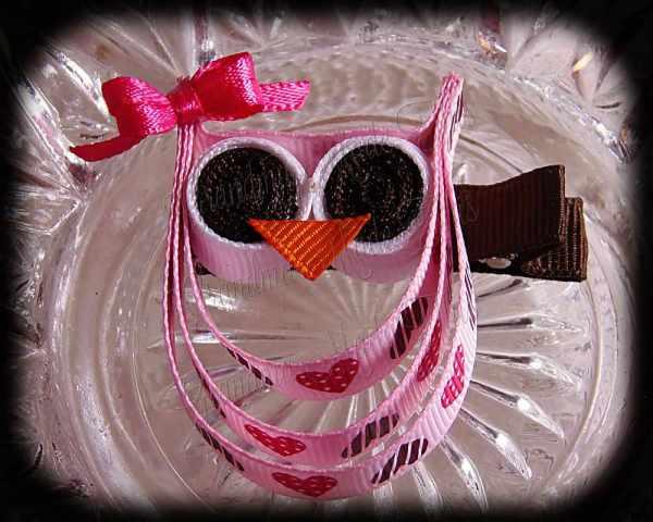 Hearts Pink Pink Bow Ribbon Sculpture Owll