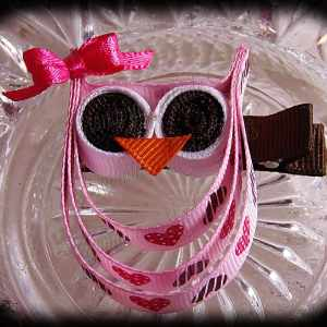 Hearts Pink Pink Bow Ribbon Sculpture Owl