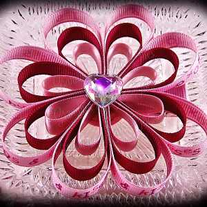 Hugs N Kisses Satin Ribbon Sculpture Flower Bow