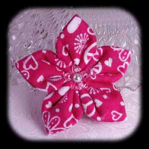 Kanzashi Flannel Star Hair Bow 3