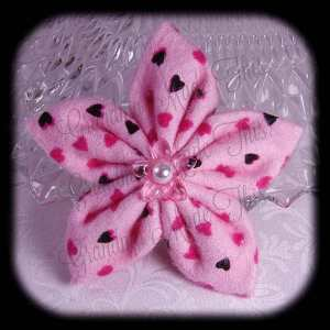 Kanzashi Flannel Star Hair Bow 5