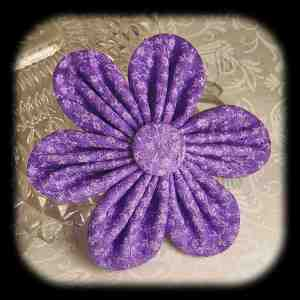 Kanzashi Flower Orchid Petals Down Hair Bow 3