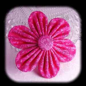 Kanzashi Flower Orchid Petals Down Hair Bow 8