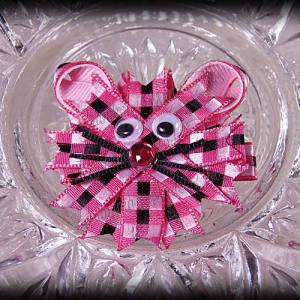 Kitty Ribbon Sculpture Pink Plaid