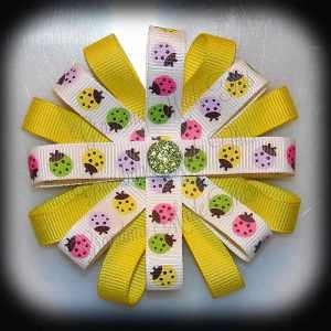 Ladybugs Yellow Loopy Flower Hair Bow
