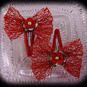 Mesh Ribbon Flower Snap Clippies Red Red Flower