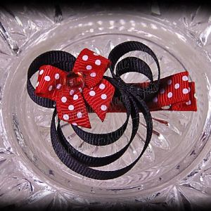 Minnie Mouse Ribbon Sculpture Red White Polka Dots