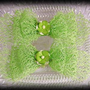 Netting Ribbon Tuxedo Hair Bows Greens