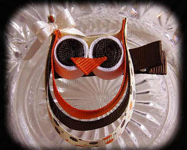 Orange Brown Polka Dots Ivory Bow Ribbon Sculpture Owl