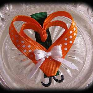 Orange White Polka Dot Lovebug Heart Ribbon Sculpture Hairclip