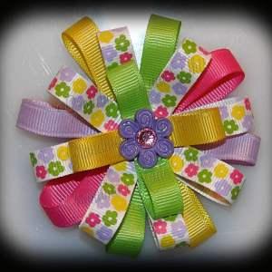 Petite Multi Daisies Loopy Flower Hair Bow