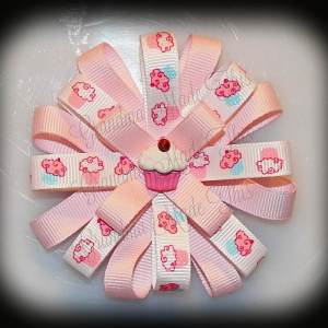 Pink-Blue Cupcakes Loopy Flower Bow