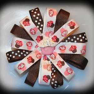 Pink Brown Cupcakes Loopy Flower Hair Bow