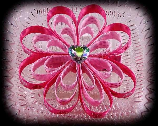 Pink Hearts Polka Ribbon Sculpture Flower Bow
