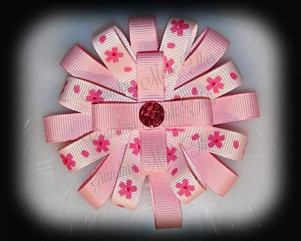 Pretty Floral Light Pink Loopy Flower Hair Bow