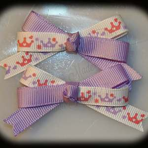 Petite Quad Barrette Hairbow Set Princess Crowns
